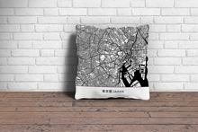 Map Throw Pillow of Tokyo Japan - Simple Black Ink