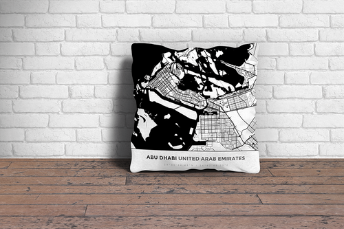 Map Throw Pillow of Abu Dhabi United Arab Emirates - Simple Black Ink - Abu Dhabi Map Art