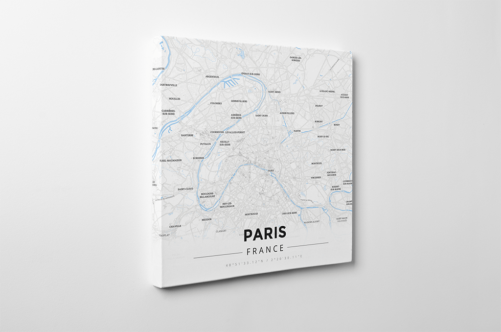 Gallery Wrapped Map Canvas of Paris France - Modern Ski Map