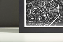 Framed Map Poster of Rome Italy - Subtle Contrast