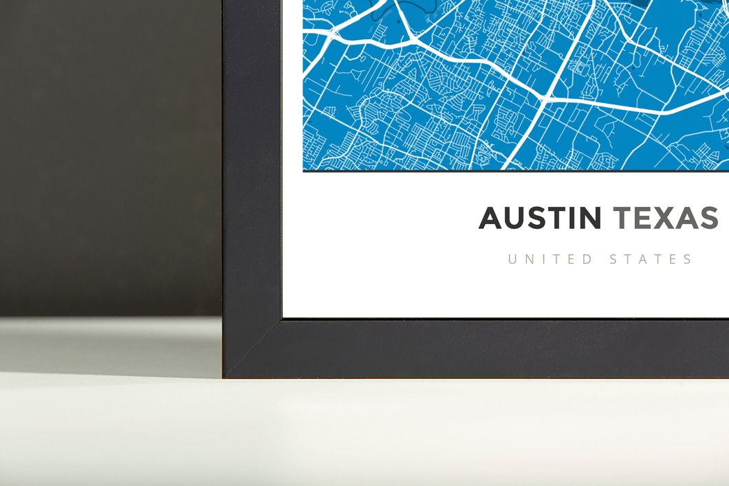 Framed Map Poster of Austin Texas - Simple Blue Contrast - Austin Map Art