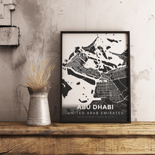 Premium Map Poster of Abu Dhabi United Arab Emirates - Modern Contrast - Unframed - Abu Dhabi Map Art