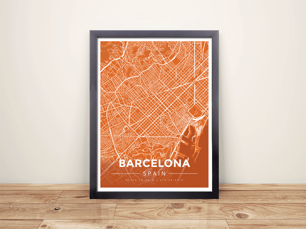 Framed Map Poster of Barcelona Spain - Modern Burnt