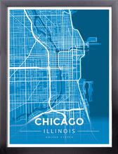 Framed Map Poster of Chicago Illinois - Modern Blue Contrast - Chicago Map Art