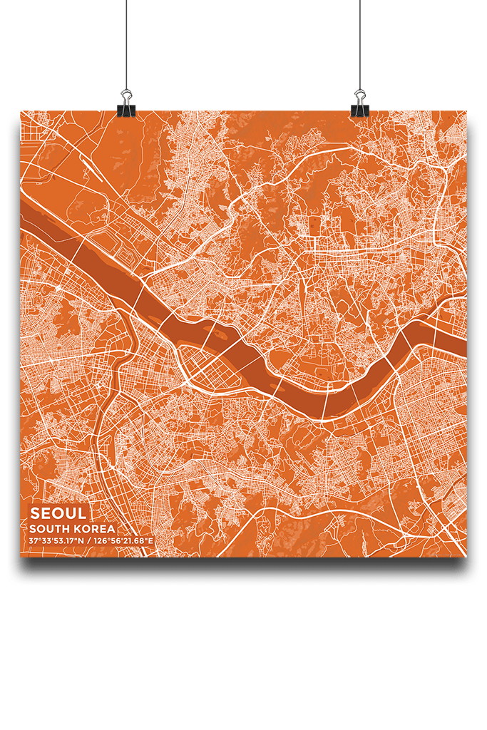 Premium Map Poster of Seoul South Korea - Subtle Burnt - Unframed