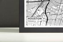 Framed Map Poster of Houston Texas - Subtle Black Ink - Houston Map Art