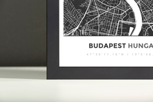 Framed Map Poster of Budapest Hungary - Simple Contrast - Budapest Map Art