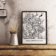 Premium Map Poster of Kuala Lumpur Malaysia - Simple Black Ink - Unframed