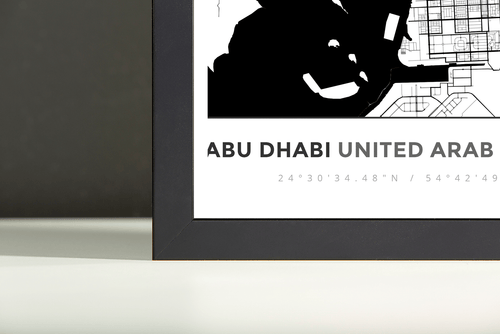 Framed Map Poster of Abu Dhabi United Arab Emirates - Simple Black Ink - Abu Dhabi Map Art