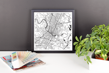 Framed Map Poster of Austin Texas - Subtle Black Ink - Austin Map Art