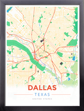 Framed Map Poster of Dallas Texas - Modern Colorful - Dallas Map Art