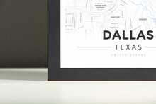 Framed Map Poster of Dallas Texas - Modern Ski Map - Dallas Map Art