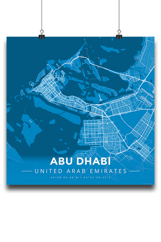 Premium Map Poster of Abu Dhabi United Arab Emirates - Modern Blue Contrast - Unframed - Abu Dhabi Map Art