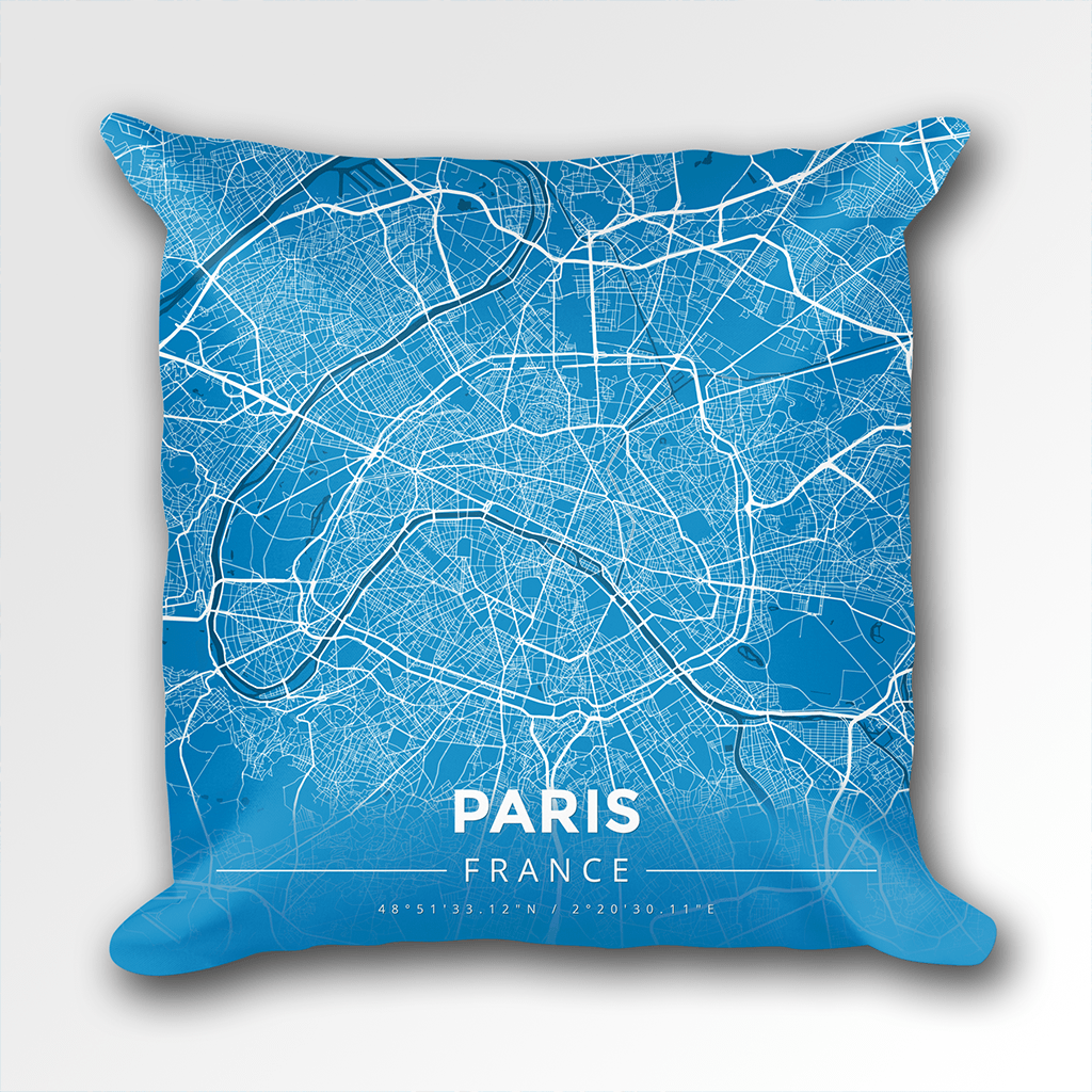 Map Throw Pillow of Paris France - Modern Blue Contrast
