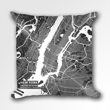 Map Throw Pillow of New York United States - Subtle Contrast