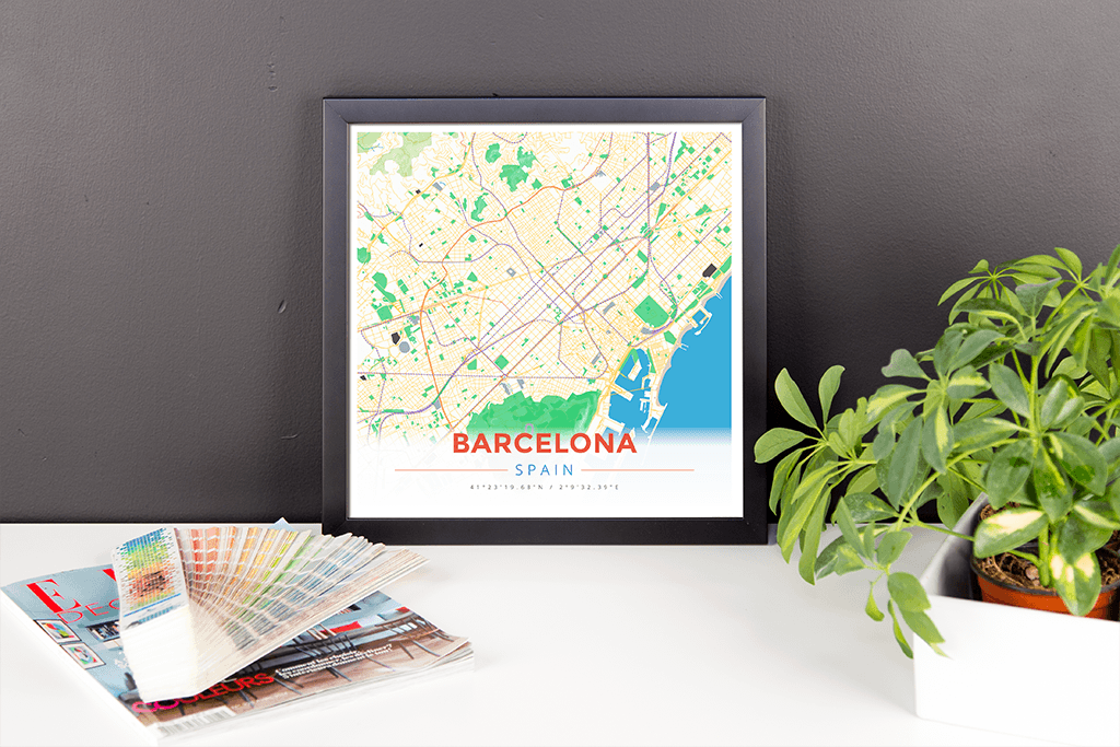 Framed Map Poster of Barcelona Spain - Modern Colorful
