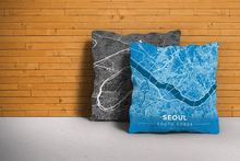 Map Throw Pillow of Seoul South Korea - Modern Blue Contrast