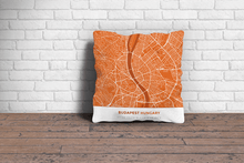Map Throw Pillow of Budapest Hungary - Simple Burnt - Budapest Map Art