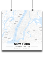 Premium Map Poster of New York United States - Modern Ski Map - Unframed