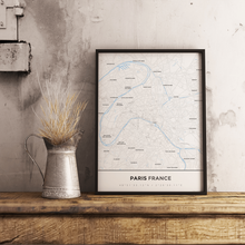 Premium Map Poster of Paris France - Simple Ski Map - Unframed
