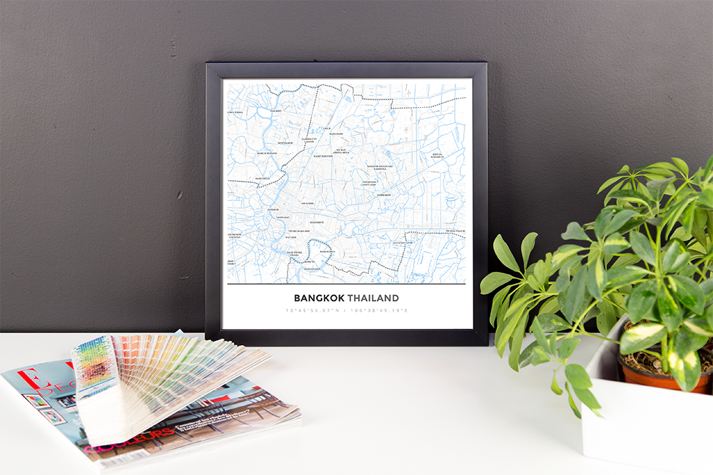 Framed Map Poster of Bangkok Thailand - Simple Ski Map