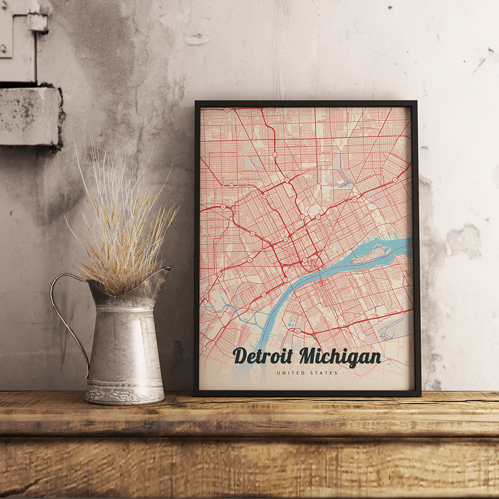 Premium Map Poster of Detroit Michigan - Lobster Retro - Unframed - Detroit Map Art
