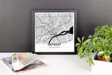 Framed Map Poster of Detroit Michigan - Modern Black Ink - Detroit Map Art