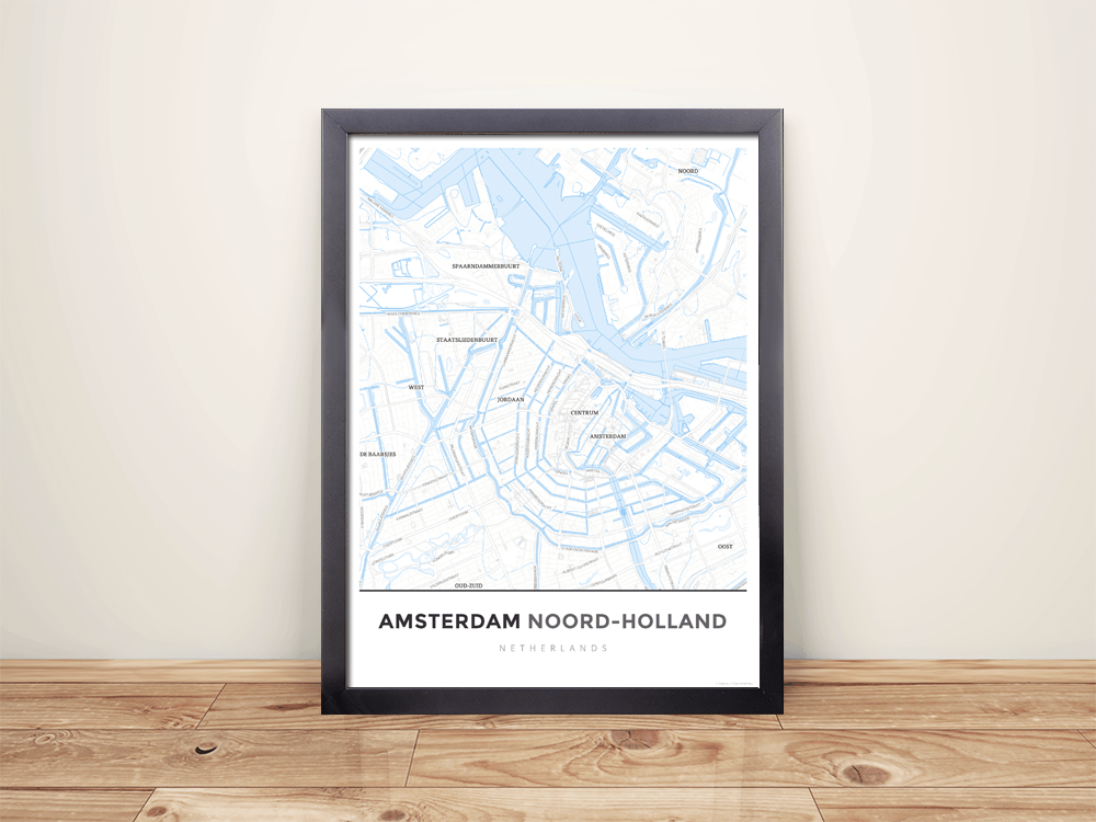Framed Map Poster of Amsterdam Noord-Holland - Simple Ski Map