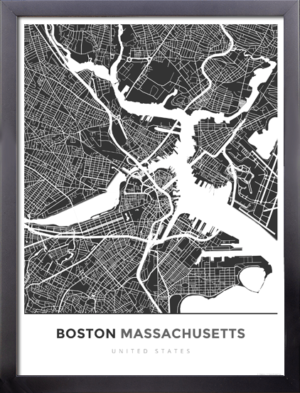 Framed Map Poster Of Boston Massachusetts Map Art Travel Decor