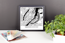 Framed Map Poster of Copenhagen Denmark - Simple Black Ink - Copenhagen Map Art