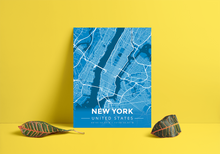 Premium Map Poster of New York United States - Modern Blue Contrast - Unframed
