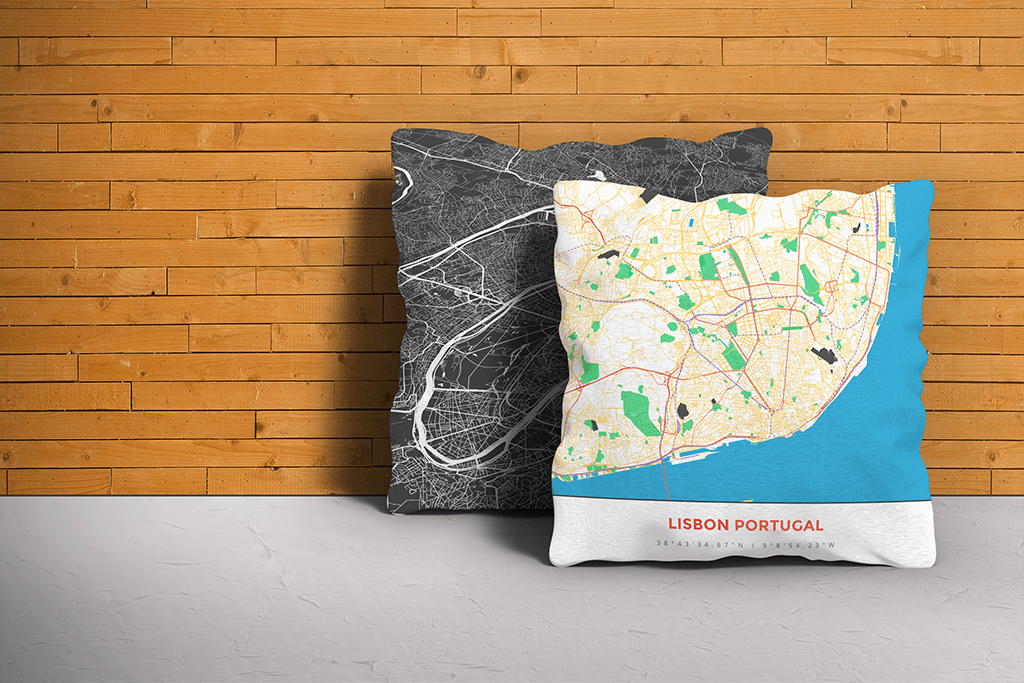 Map Throw Pillow of Lisbon Portugal - Simple Colorful - Lisbon Map Art
