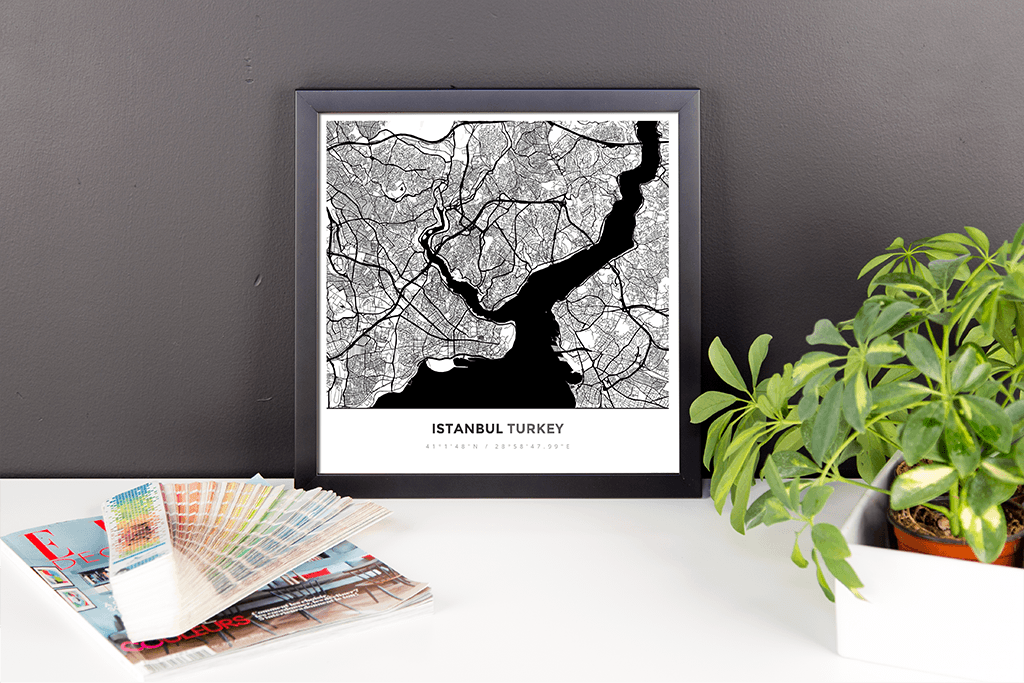 Framed Map Poster of Istanbul Turkey - Simple Black Ink