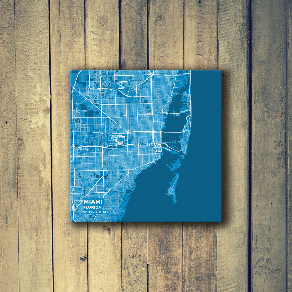 Gallery Wrapped Map Canvas of Miami Florida - Subtle Blue Contrast - Miami Map Art