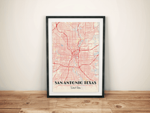 Premium Map Poster of San Antonio Texas - Diner Retro - Unframed - San Antonio Map Art
