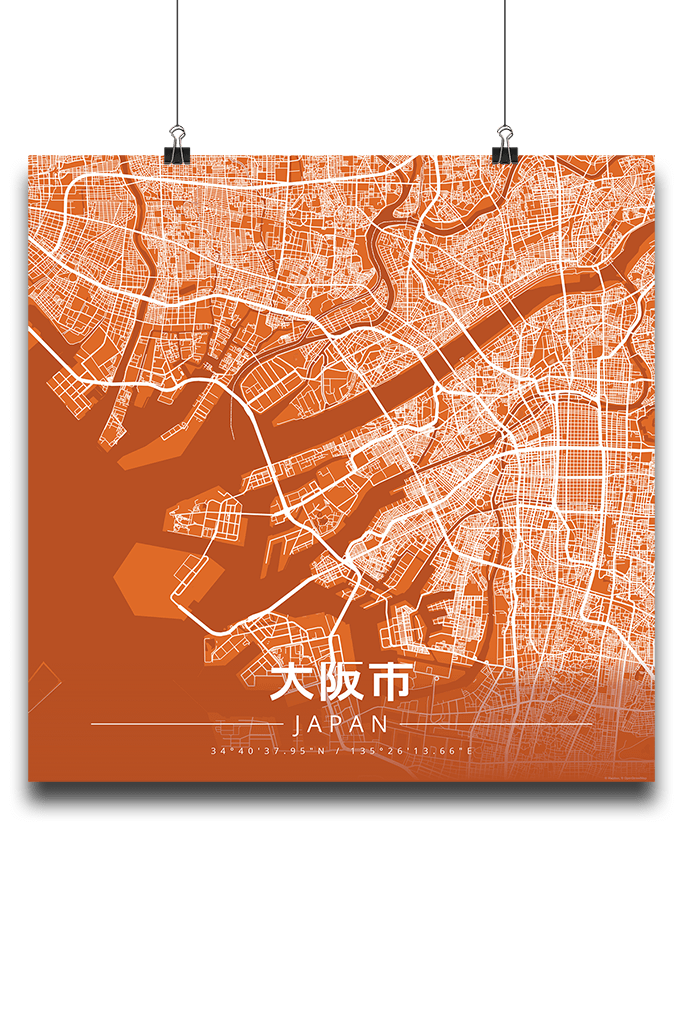 Premium Map Poster of Osaka Japan - Modern Burnt - Unframed