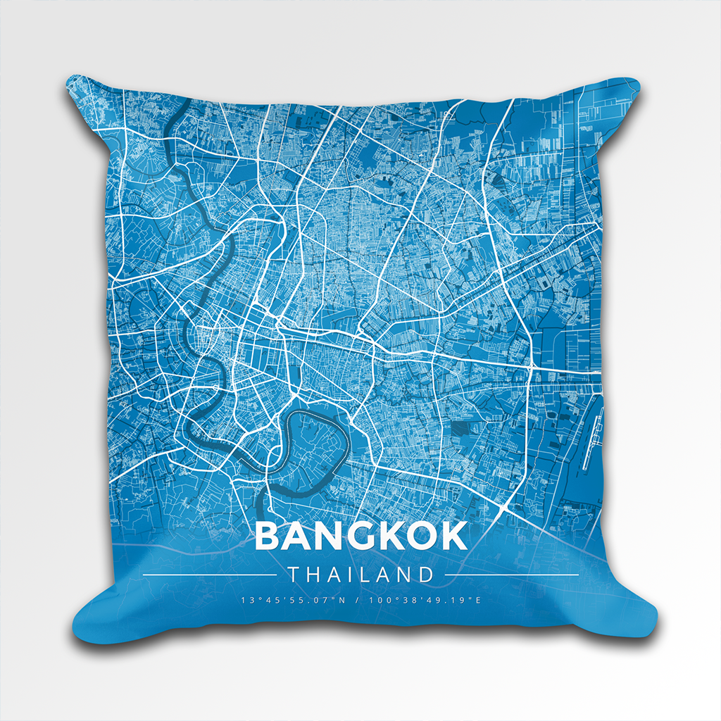 Map Throw Pillow of Bangkok Thailand - Modern Blue Contrast