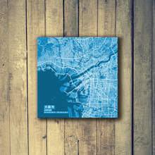 Gallery Wrapped Map Canvas of Osaka Japan - Subtle Blue Contrast