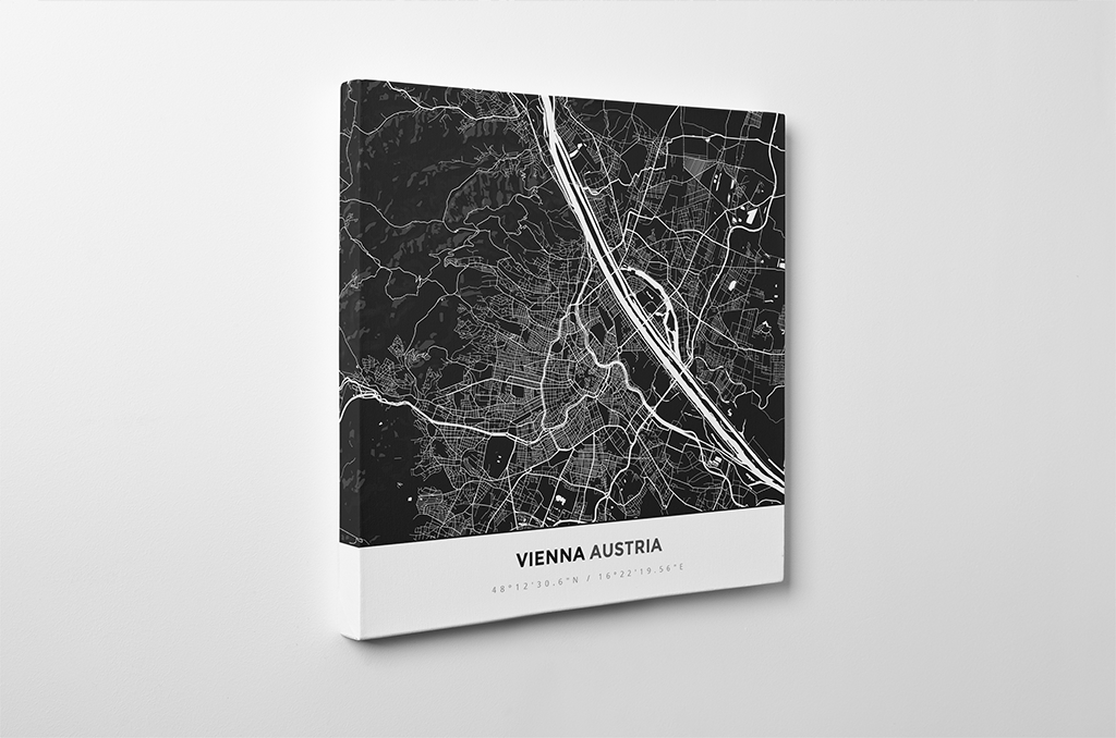 Gallery Wrapped Map Canvas of Vienna Austria - Simple Contrast