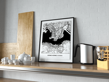 Premium Map Poster of Hong Kong China - Simple Black Ink - Unframed