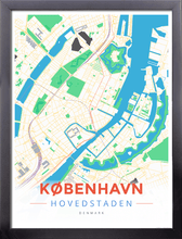 Framed Map Poster of Copenhagen Denmark - Modern Colorful - Copenhagen Map Art