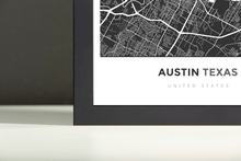 Framed Map Poster of Austin Texas - Simple Contrast - Austin Map Art