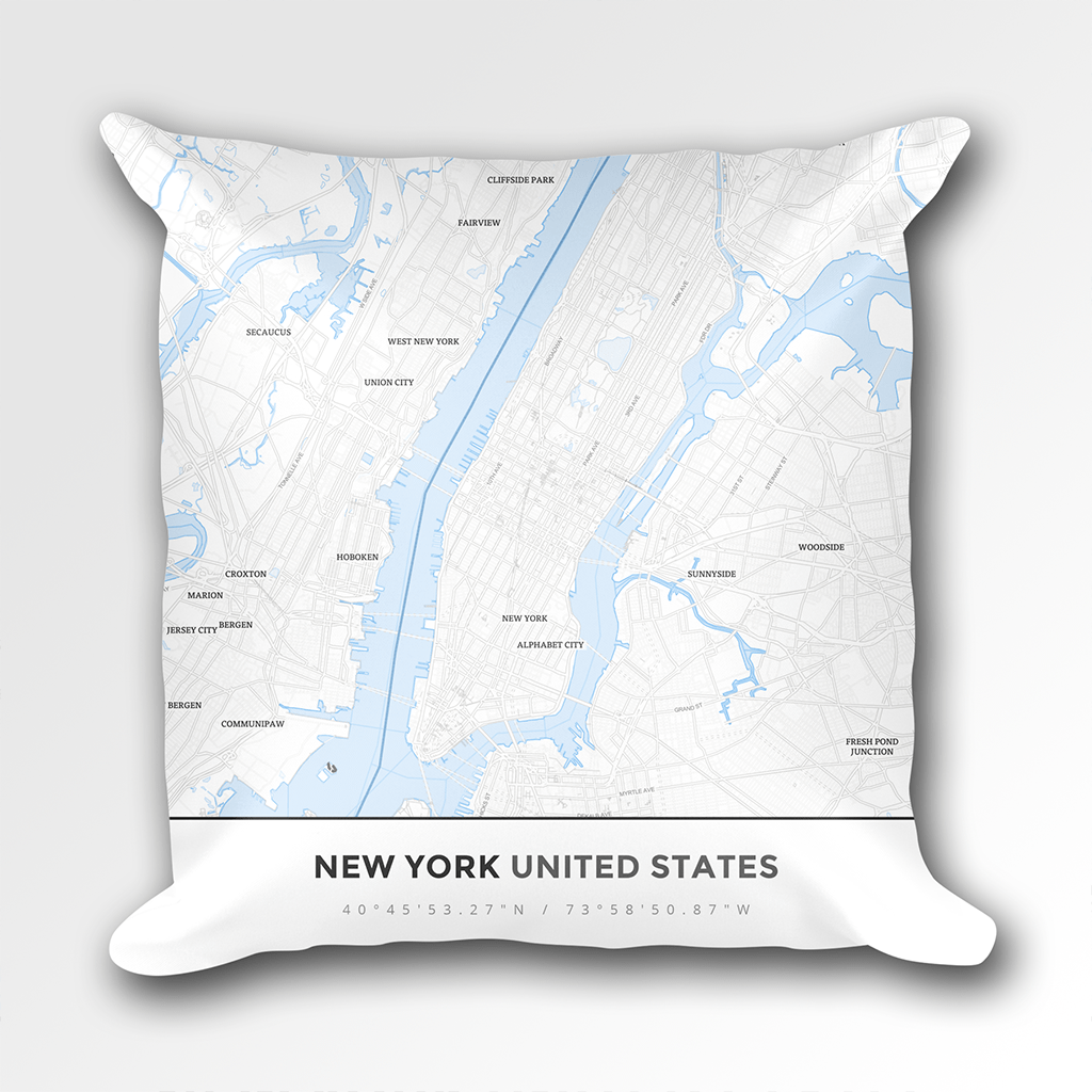 Map Throw Pillow of New York United States - Simple Ski Map