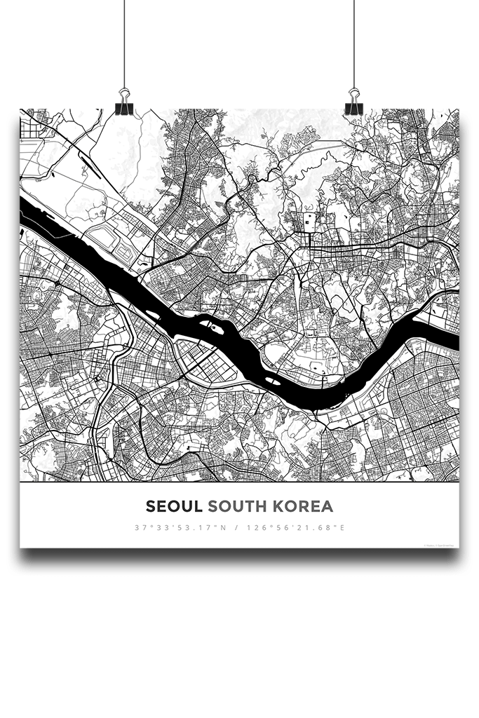 Premium Map Poster of Seoul South Korea - Simple Black Ink - Unframed