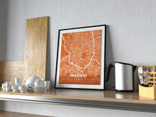Premium Map Poster of Madrid Spain - Modern Burnt - Unframed - Madrid Map Art
