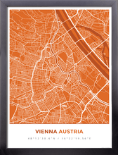 Framed Map Poster of Vienna Austria - Simple Burnt