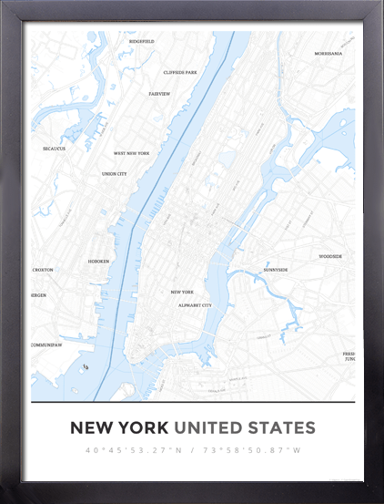 Framed Map Poster of New York United States - Simple Ski Map