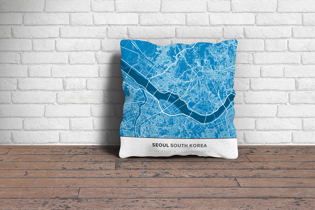 Map Throw Pillow of Seoul South Korea - Simple Blue Contrast