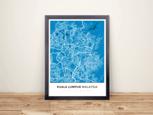 Framed Map Poster of Kuala Lumpur Malaysia - Simple Blue Contrast