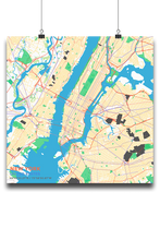 Premium Map Poster of New York United States - Subtle Colorful - Unframed